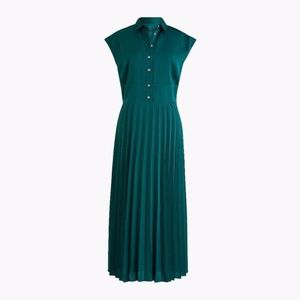 Green Midi Shirtdress with Pleated Skirt